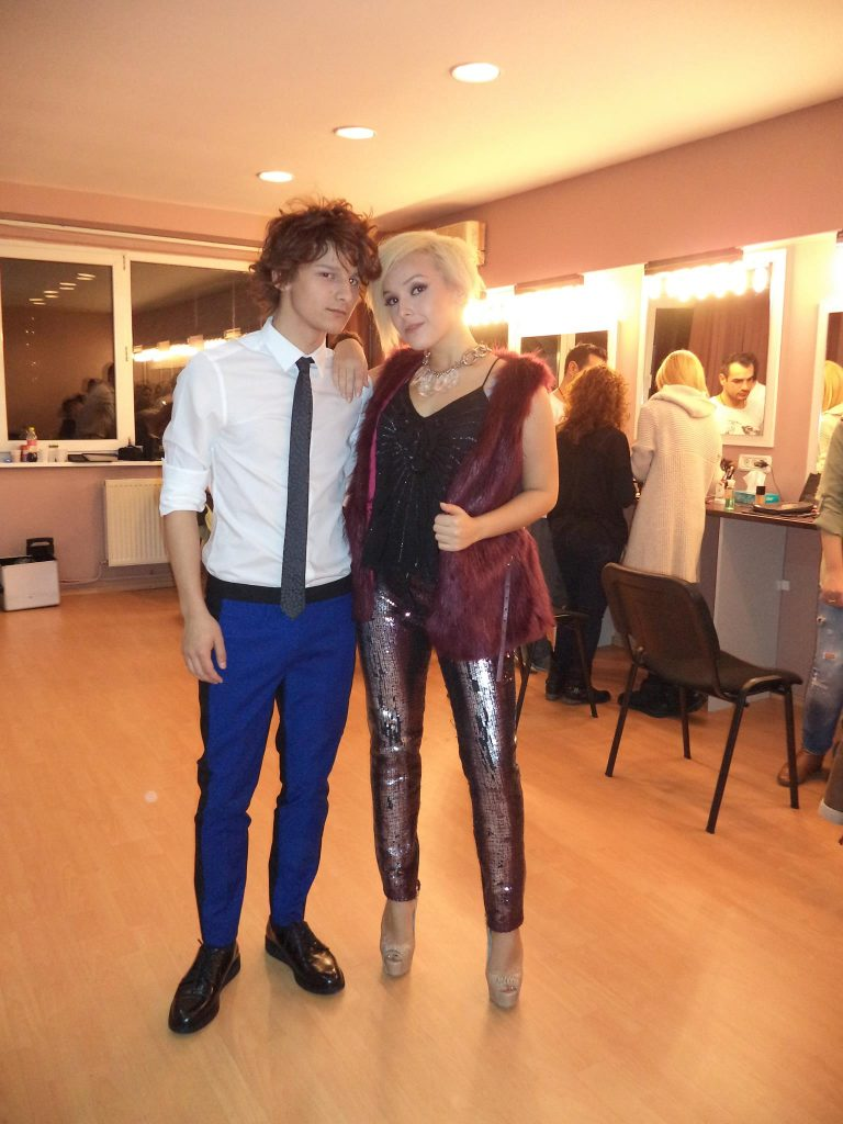 Bratis and Madalina Lefter in the backstage at X factor 2013