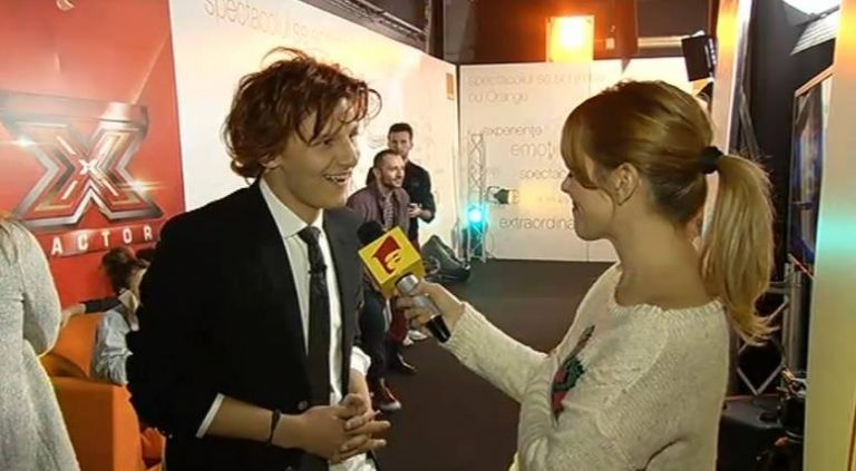 Bratis giving in interview in the backstage at X factor Romania 2013